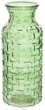 Large Glass Wide Mouth Bottle Flower Vase Woven Style Green / Carafe Jug