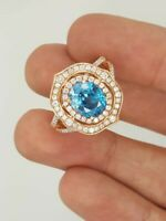 RARE LEVIAN COUTURE 18K ROSE GOLD OVAL BLUE ZIRCON & ROUND DIAMOND FLOWER RING