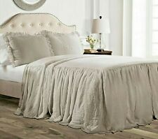 LUSH Brand Grey KING Ruffle Skirt Bedspread Set plus Shams   new