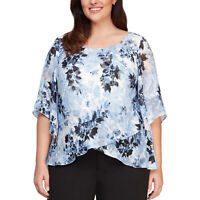 Alex Evenings Womens Blouse Blue Size 3X Plus Floral-Print Bell-Sleeve $139 247
