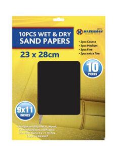 10PCS WET & DRY ASSORTED EMERY SAND PAPER FINE EXTRA FINE MEDIUM COARSE SHEETS