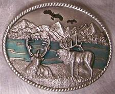 Pewter Belt Buckle animal bird Eagles and Elks NEW