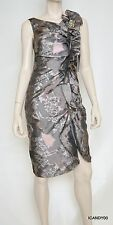 Nwt $570 Rickie Freeman Teri Jon Ruffle Printed Jacquard Cocktail Dress Taupe 14