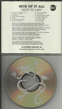 SICK OF IT ALL Built DIFF TRK ORDER ADVNCE PROMO CD dj