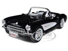 1957 CHEVROLET CORVETTE BLACK 1/18 DIECAST CAR MODEL BY ROAD SIGNATURE 92018