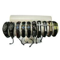 Stock 10 pezzi braccialetti da uomo in pelle cuoio bracciale con metallo e corda