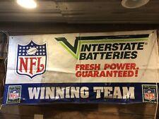 Vintage Nfl Interstate Battery Sign Banner Flag Service Station Gas Pump Rack
