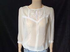 NEW wTAG Lace Top Tunic Boho Pintuck Shirt Blouse M-L Medium - Large Off White