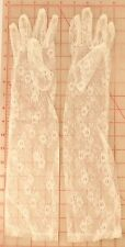 """1 pair off white ivory floral lace gloves flower design 18"""" elbow length Sz Med"""