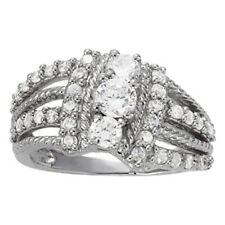 Row Rope Right Hand Diamond Ring New Ladies 14k White Gold Swirl Four
