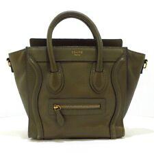 Auth CELINE Luggage Nano Shopper Khaki Leather Womens Handbag