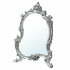 French Rococo Antique Style Silver Ornate Bedroom Dressing Table Wall Mirror