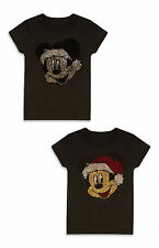 PRIMARK GIRLS 7-8 YEARS DISNEY MICKEY MOUSE XMAS BRUSH SEQUINS T SHIRT TOP BNWT