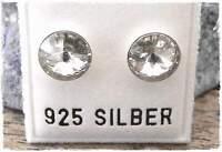 NEU 925 Silber OHRSTECKER 8mm SWAROVSKI STEINE RIVOLI silvershade/klar OHRRINGE