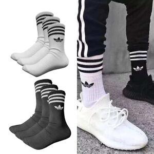 3 Pairs adidas originals Trefoil Logo Crew Socks Unisex Cotton Ankel Cushioned
