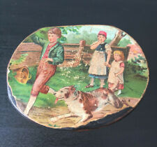 Petite boite à timbre en papier mâché XIX ème