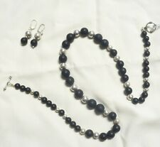Beautiful Black Onyx Necklace and Silver Beads with Earrings Silver.