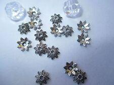 30  Perlenkappen 8x8mm silberfarben, für Perlen 10-12mm Beadskappen, Endkappen