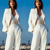 Women's White Formal Wear Pant Suits Office Laides Work Business Suits Separates