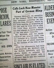 Loch Ness Monster Nessie Scotland Lake is a German Airship ? 1934 Old Newspaper