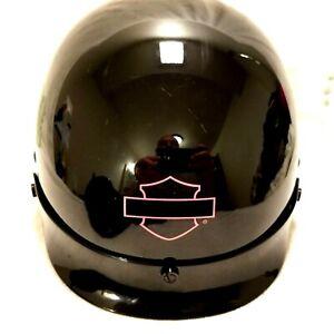 Harley Davidson Womens black Half Helmet Pink Emblem Large 59-60cm w Dust cover