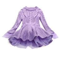 Cute Kids Girls Sweater Winter Knitted Pullovers Crochet Tutu Dress Tops Clothes