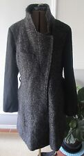 Asos wool trench funnel neck coat 12 NEW black grey boiled