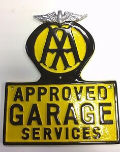 AA Cast Sign Vintage AA Garage sign Cast Aluminium with Polished Wings AA Logo