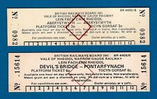 2 Platform Tickets ~ BR(M) Vale of Rheidol - Aberystwyth & Devils Bridge - 1980s