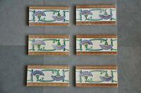 6 Pc Vintage Majolica Decorative Flower Art Nouveau Architecture Tiles,Japan