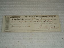 Antique Original 1875 Licking County Ohio Marriage Document Bostwick Ritter