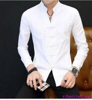 Chinese Style Mens Slim Fit round collar Top Casual Vintage shirts Flax button