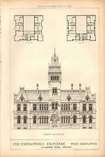 1876 ANTIQUE ARCHITECTURAL PRINT- HARTLEPOOLS EXCHANGE, ELEVATION,MASONRY,2 PRIN