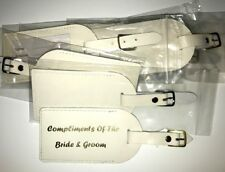 QTY 20 WEDDING LUGGAGE LEATHER TAGS IN any colour - printed your choice of words