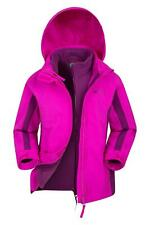 Mountain Warehouse Girls Waterproof Fabric 3In1 Taped Seams and Detachable Hood