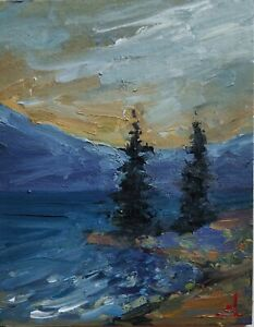 MOUNTAIN TREES OIL PAINTING BY ARTIST VIVEK MANDALIA IMPRESSIONIST ART 10 X 8