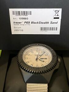 Traser P69 Black Stealth Sand Herrenuhr 109860 Natoband 46 mm