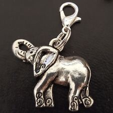 "Decorated Airavata Elephant clip on Charm Pendant Silver Ganesh Fertility 1"""