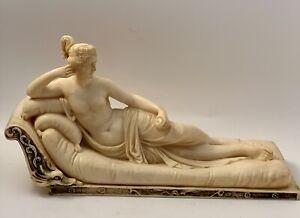 VTG Santini Italy Nude Seductive Lady On Fainting Couch .Greek, Roman Boudoir