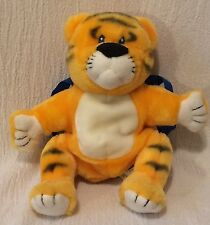 "10"" Plush Discovery Toys Tiger Bright Hand Puppet Backpack Book on Back"