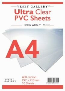 A4 Clear PVC / Heavy Acetate 10 Sheets 400 Micron  - FREE DELIVERY