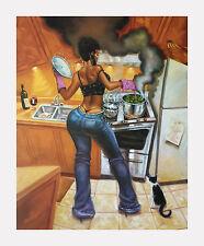 """African American Art """"Lookin' Good Cookin'"""" Black Cuisine Print  Sterling Brown"""