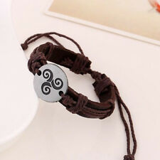 Teen Wolf Triskele Triple Spiral Symbol Charm Leather Bracelets Adjustable Nice