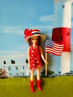 DAWN DOLL clothing  GIRL OUTFIT  RED MINI WITH WHITE STARS >>USA FLAG ETC