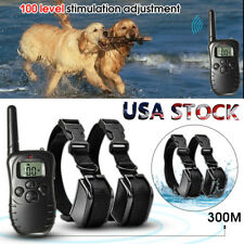 Rechargeable Waterproof LCD 100LV Level Shock Remote 2 Dog Training Collar USA