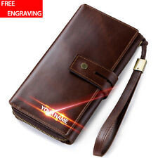 Men Genuine Leather Passport Holder Wallet Wristlet Travel Card Organizer Purse