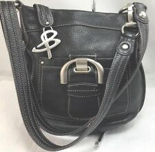 B Makowsky Black Pebbled Leather Messenger  Silver Buckle Flap Cross Body Bag. 4