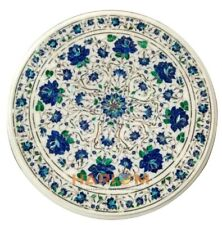 "24"" Corner Marble Table Lapis Floral Top Semi Precious Inlaid Round Decor W346"