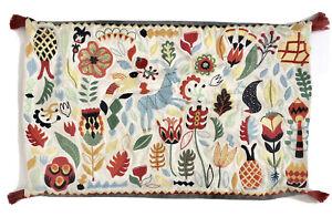 "Ikea Rodarv Colorful Embroidered Folk Art Pillow Cover Sham 16"" x 26"" Wear"