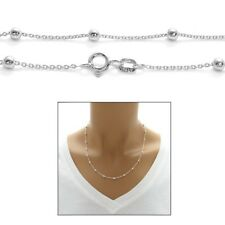 "925 Sterling Silver 14""-30"" Bead and Link Necklace"
